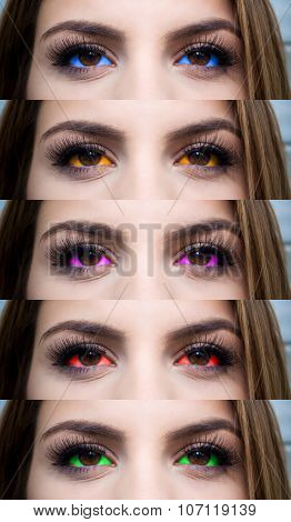 New trend of eyeball tattoo - close-up shot of five various colors of eyeballs
