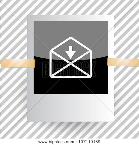 mail down arrow. Photoframe. Vector icon.