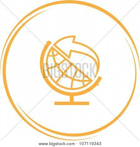 globe and arrow. Internet button. Vector icon.