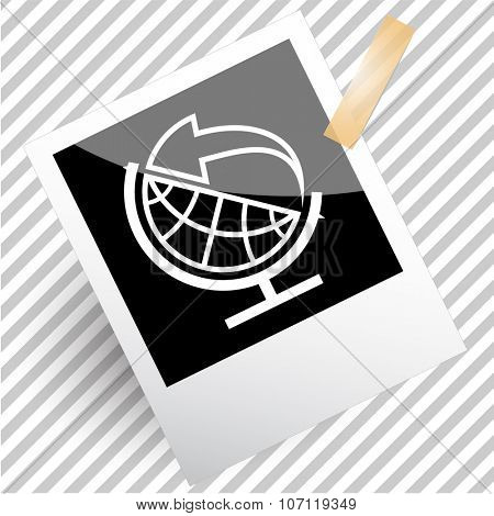 globe and arrow. Photoframe. Vector icon.