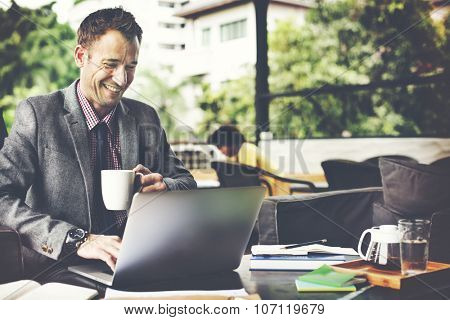 Businessman Working Coffee Shop Cheeerful Busy Concept