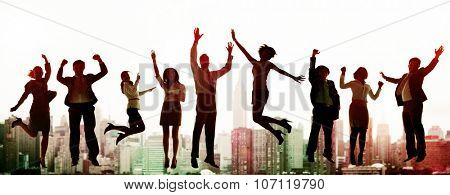 Business People Celebration Success Jumping Ecstatic Concept
