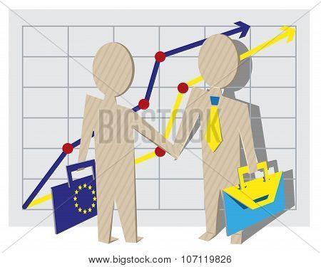 Businessmen of European Union and Ukraine shake hands