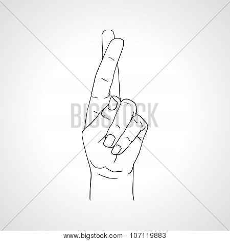 Drawing crossed fingers. Good luck hand gesture