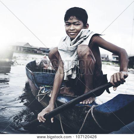 Boy Traveling Boat Floating Village Cambodian Vessel Concept