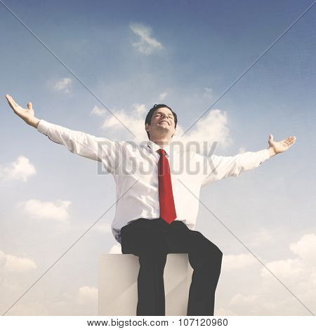 Businessman Success Relaxation Achievement Concept