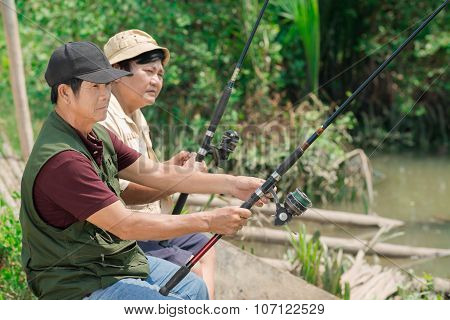 Concentrated On Fishing