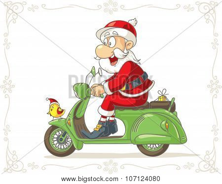 Santa Claus On A Scooter With A Small Gift Vector Cartoon