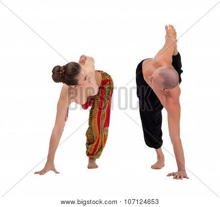 Yoga. Partners look at each other during exercise