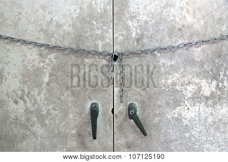 old steel cabinet is lock