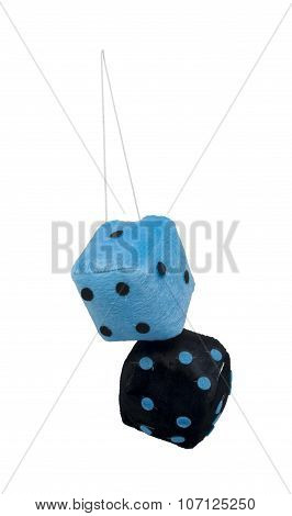 Black And Blue Fuzzy Dice