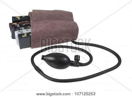 Blood Pressure Cuff Around Briefcases
