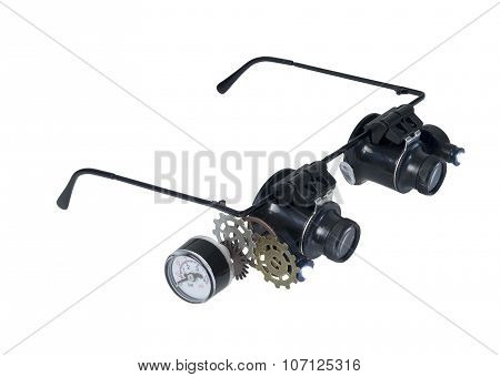 Glasses With Gears And Gauge And Lights