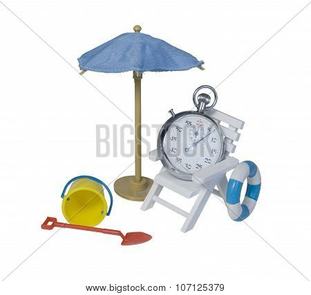 Stop Watch Relaxing In Chair Next To Umbrella