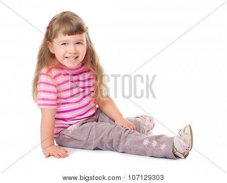 Little smiling girl isolated on white
