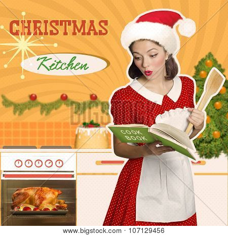 Young Attractive Housewife Cooks Christmas Food