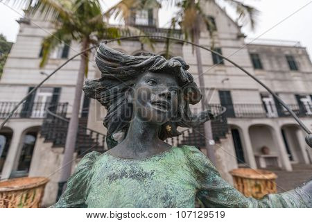 FUNCHAL, MADEIRA - JULY 14, 2015: Sculpture at Monte Palace Tropican Garden on July 14, 2015