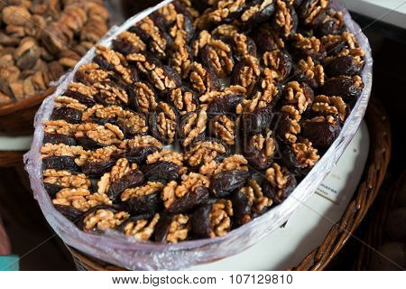 Plate Of Prunes And Walnuts