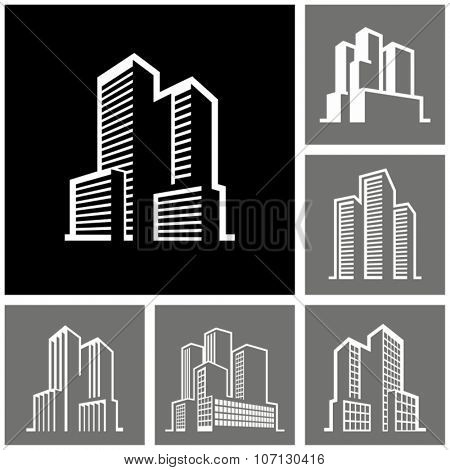 Buildings vector white icons on dark background