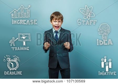 businessman teenager boy clenched fists shouting angry sketch ic