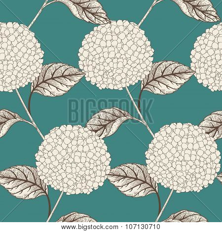 Seamless vector pattern with flowers hydrangeas.