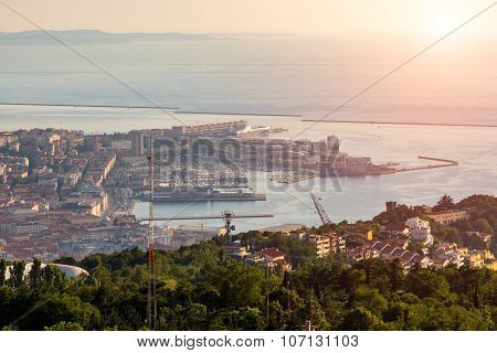 Sunset Over The Bay In Trieste