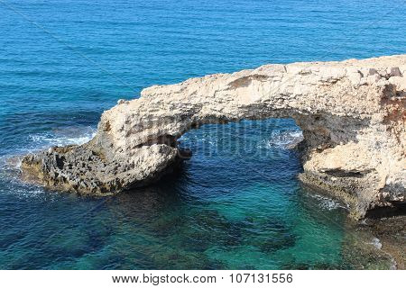 Natural stone Love Bridge in Cyprus Ayia Napa.