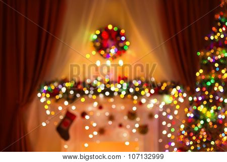 Blurred Christmas Room Lights Background, De Focused Xmas Tree Light