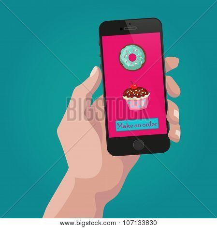 Online order sweets and cookies via internet.