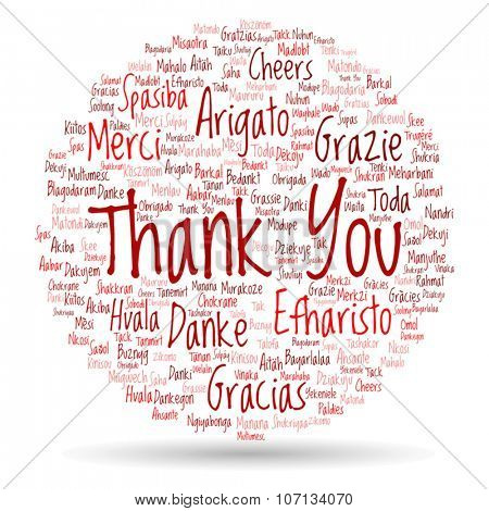Vector concept or conceptual abstract red circle thank you word cloud in different languages or multilingual for education or Thanksgiving Day