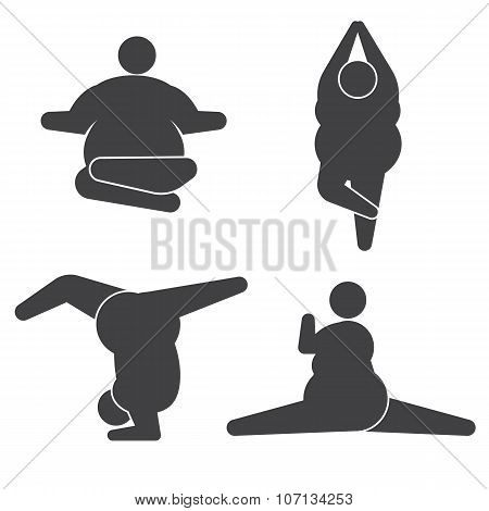 Big guy in pose practicing yoga