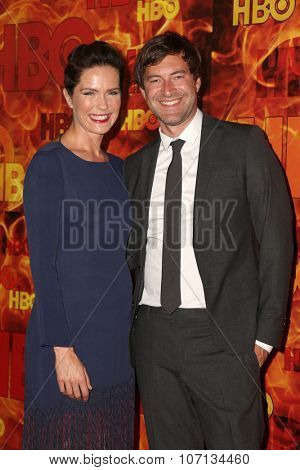 LOS ANGELES - SEP 20:  Katie Aselton, Mark Duplass at the HBO Primetime Emmy Awards After-Party at the Pacific Design Center on September 20, 2015 in West Hollywood, CA