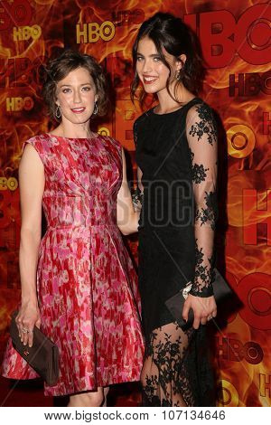 LOS ANGELES - SEP 20:  Carrie Coon, Margaret Qualley at the HBO Primetime Emmy Awards After-Party at the Pacific Design Center on September 20, 2015 in West Hollywood, CA