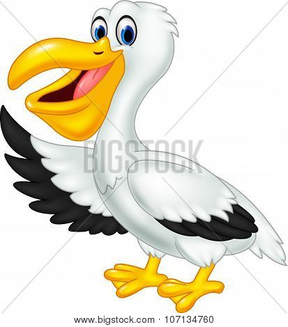 Cute cartoon pelican waving isolated on white background