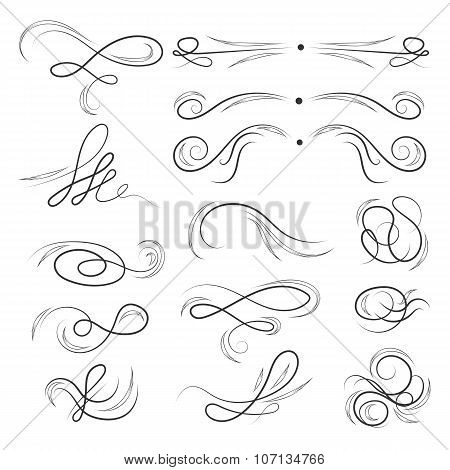 Calligraphic Ink Vector Elements Set