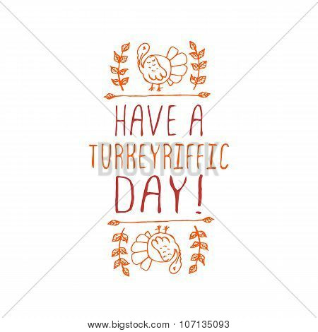 Have a turkeyriffic day - typographic element