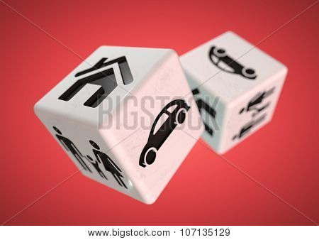 Concept For Gambling Addiction.  Gambling With Your Family, Car And House.