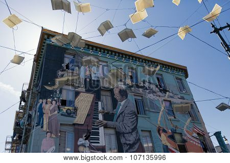 San Francisco, Ca, June 25, 2015: Urban Art In Castro Area In San Francisco Representing Musicians P