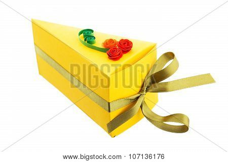 Paper Piece Of Cake Made With Quilling Technique Isolated On White