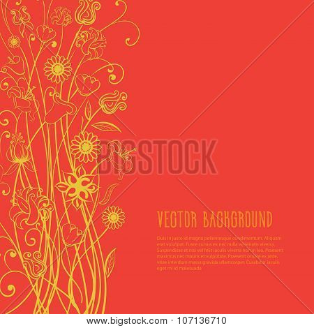 Vector red yellow flowers.