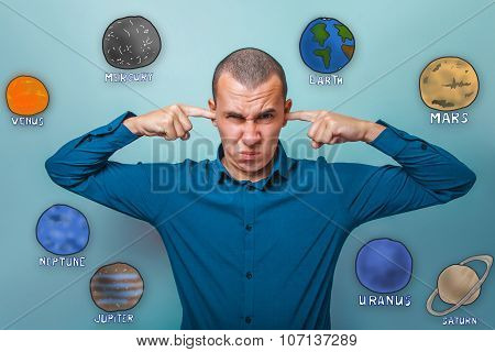 businessman man pout on his face fingers in his ears plugged pla