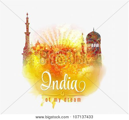 India of my dream. Illustration of India in saffron and green color splash floral background .