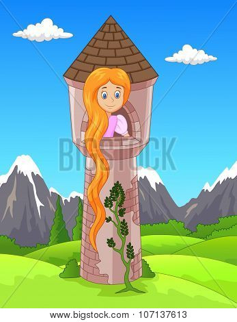 Princess with long hair waiting on the isolated tower