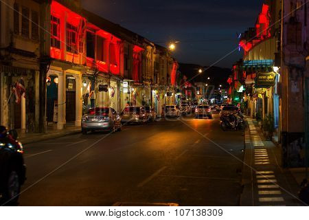 Phuket, Thailand - April 15, 2015: Old Building Chino Portuguese Style, Street Of Phuket Town At Twi