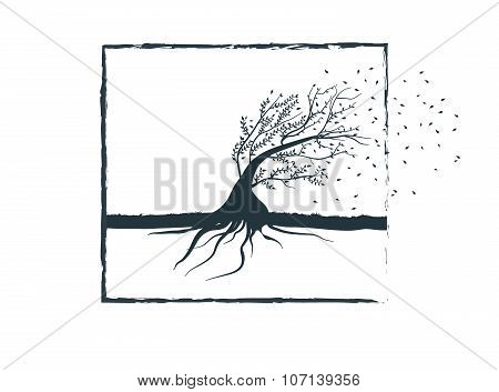 Bendable Tree Symbolizing The Wind Resistance,flexibility,reliability.vector