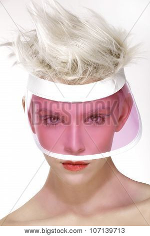 Beauty Shot Blond Perfect Young Model Wear Pink Visor