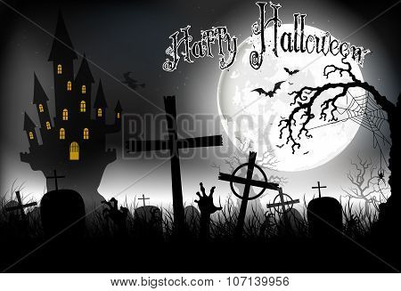 Halloween background night with in graveyard and scary house on the full moon