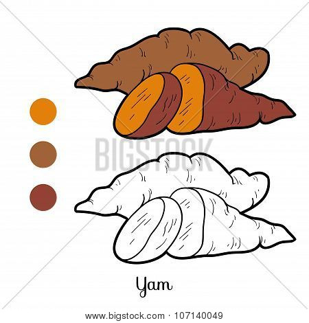 Coloring Book For Children: Fruits And Vegetables (yam)