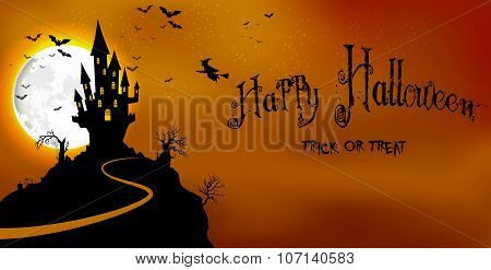 Halloween background haunted castle in scary on night
