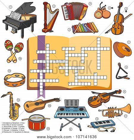 Color Crossword, Education Game For Children About Music Instruments